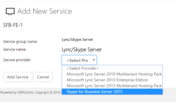 Skype for Business Server 2015 - MSPControl