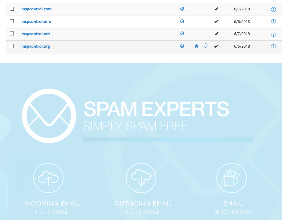 Spam Experts Domain Settings