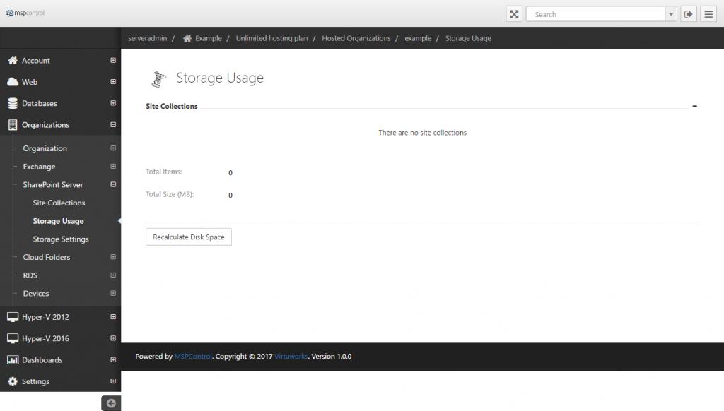 Storage Usage