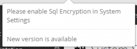 SQL encryption notification